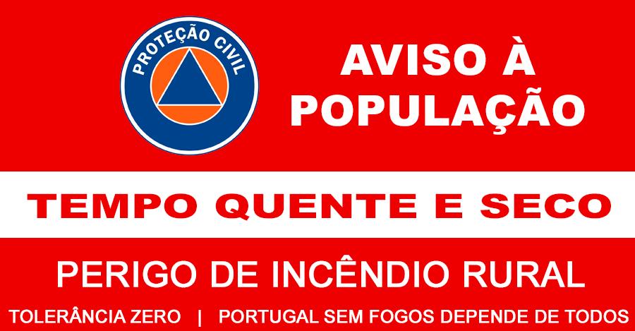 Resultado de imagem para AVISO À POPULAÇÃO: AUMENTO DO PERIGO DE INCÊNDIO RURAL